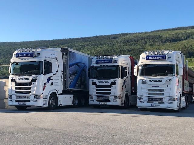 Sundbrei Transport sine lastebilder stilt opp ved siden av hverandre i Hallingdal